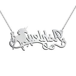 Sterling Silver Unicorn Personalized Name Necklace by JEWLR