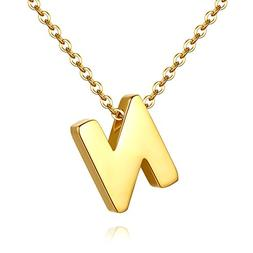 TOUGHARD Polished Tiny Initial Alphabet Letter Necklace, Del
