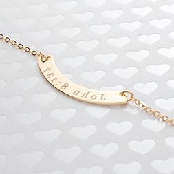 A Curved Your Name Necklace Diamond Engraving 16k Gold Silve