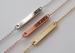 A Engraved Name Bar Necklace in 16k Gold -Plated Silver Rose