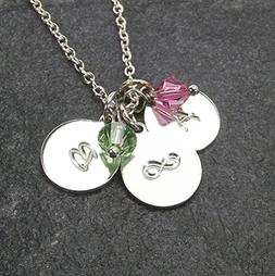 Personalized Custom Infinity Necklace with 2 Initial Charms