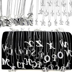A-Z Inital Letter Name endant Necklace Silver Plated Crystal