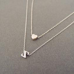 A_Z Letters Heart Initial Name Double layer Necklace Jewelry