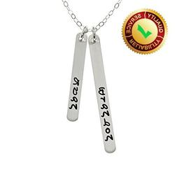 AJ's Collection Personalized Two Skinny Name Pendant Necklac