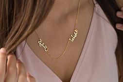 Arabian Two Name Necklace Silver with yellow gold filled Ara