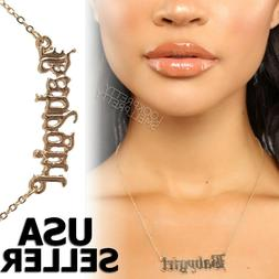 Babygirl Queen Gold Plated Fashion Necklace Silver Custom Na