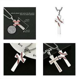 Baseball Necklaces Cross Pendant, I CAN DO ALL THINGS STRENG
