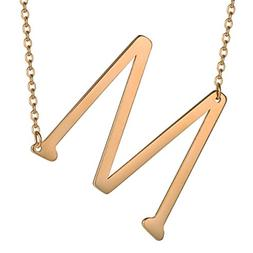HUAN XUN Big Initial M Necklaces Stainless Steel Jewelrys Na
