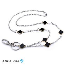 LUXIANDA Black Clover Image Beaded Lanyard Necklaces Badge H