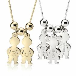 Boy & Girls - Mom Necklace with Children's Name - Kids Names