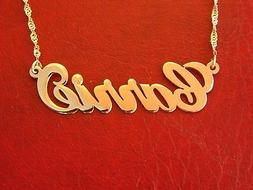 """Carrie"" necklace, Any name necklace, Solid 14k gold name /"
