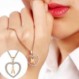 Charming A To Z Letter Name Necklaces Pendant Girls Heart Ch