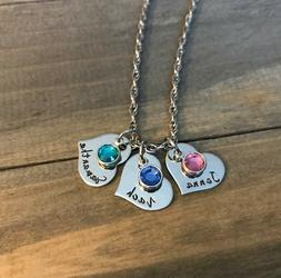 Family Heart Necklace Child's Name Birthstone Personalized h