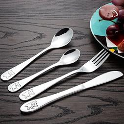 Children Tableware Cutlery Set 4Pcs Stainless Steel Child Pa
