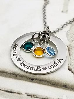 Circle of Love Custom pendant necklace, gift for Mom, Gift f