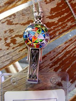 Colorful Kaleidoscope ID Badge Name Tag Card Holder Necklace
