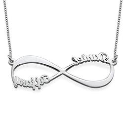 Couples Infinity Pendant Name Necklace in Sterling Silver -