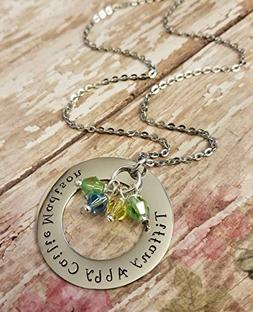 Crystal Birthstone Name Necklace for Mom or Grandma Large 1