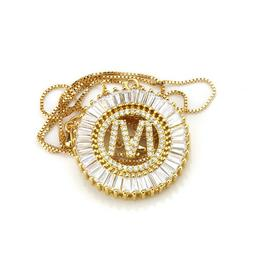 Crystal Initial Necklace for Women Gold Chain A-Z Letter Nam