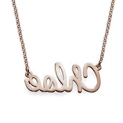 Cursive Script Name Necklace in Rose Gold Plating - Custom M