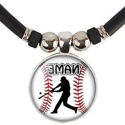 custom baseball pendant necklace with name