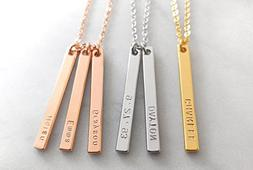 Custom Dainty Name Dated Bar Necklace, Hand stamped Letter G