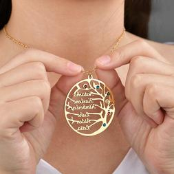 Amaxer Custom Family Tree Name Stainless Pendant Necklace Ch