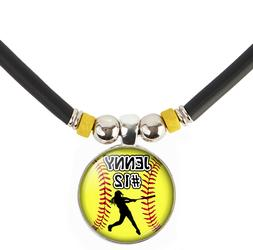 Custom Girls Softball Necklaces Personalized With Name/Numbe
