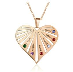 Custom Jewelry Name Family Love Heart Necklace Birthstones P