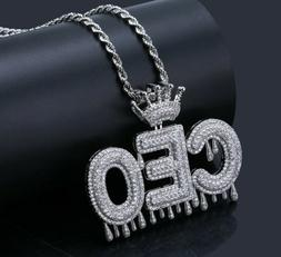 Custom Name Necklace Crown Tennis Rope Chain Jewelry Iced Ou