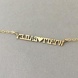 CUSTOM NAMEPLATE Charm Gold Fill Necklace also in Silver and