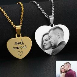Custom Name Photo Necklace Personalized Laser Engraved Heart