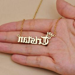 custom princess queen crown letters charm necklaces