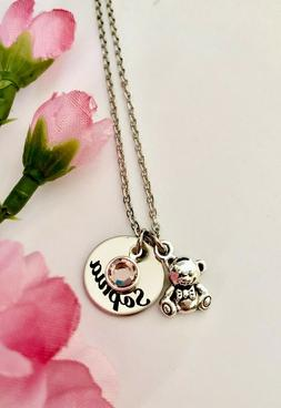 Custom stainless steel name Teddy bear charm necklace with b