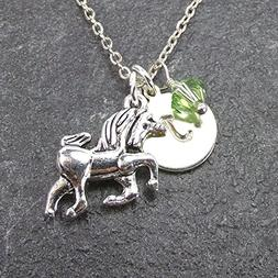 Custom Unicorn Necklace with Simulated Pearl Crystal from Sw