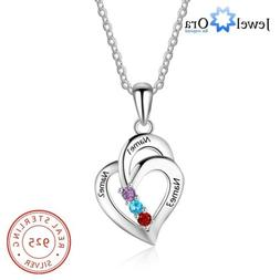 Customize Birthstone Women Necklaces Silver Heart Pendant En