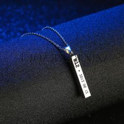 Customized Bar Necklace Personalized ID Date Engrave Name Pe