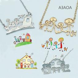 Customized Children's Drawing <font><b>Necklace</b></font> <