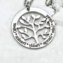 Customized Family Tree of Names Pendant Necklace, mother's n