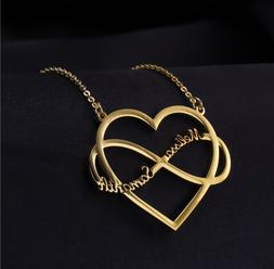 Customized Heart Name Infinite Necklace Jewelry Love Couple