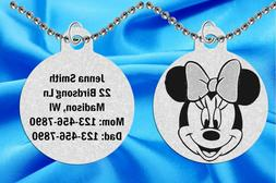 Cute Minnie Mouse ID Necklace for Kids, Personalized FREE w