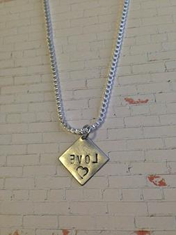 Diamond shaped necklace customized with names or saying, sma