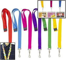 DIY Bright Color Hall Pass Lanyards with Badge Holders Set o