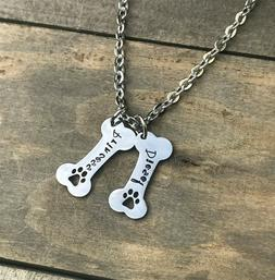 Dog Bone necklace personalized name pet jewelry paw print ne