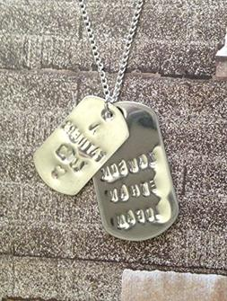 Small Dog Tag necklace customizable with names or sayings, a