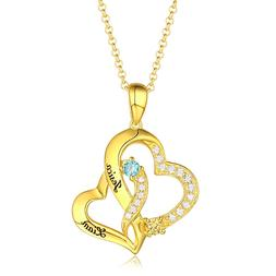 Sweey Dropshipping Personalized Double Heart <font><b>Neckla