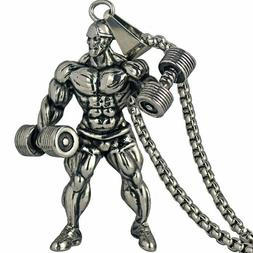 Dumbbell Pendant Necklace Motivation Stainless Steel Chain M