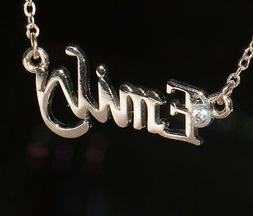 EMILY Name Necklace with Rhinestone Gold or Silver Tone