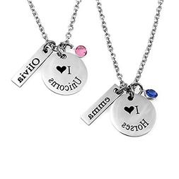 Engraved Jewelry - Personalized - I Love Horses / Unicorns &