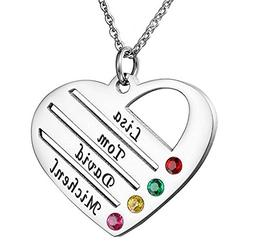 Family Name Necklace Personalized with Heart Shape Engraved